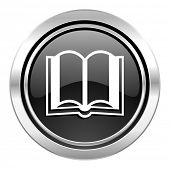 book icon, black chrome button