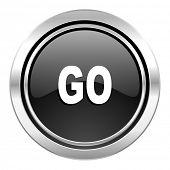 go icon, black chrome button