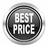 best price icon, black chrome button