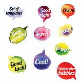 Vector Watercolor Speach Bubbles. Set of 10 pieces.