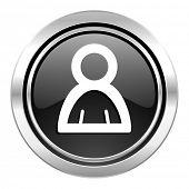 person icon, black chrome button