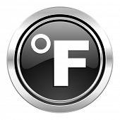 fahrenheit icon, black chrome button, temperature unit sign