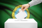 Voting Concept - Ballot Box With National Flag On Background - Washington