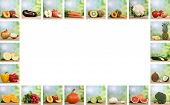 Set Of Fruits And Vegetables With Copy Space