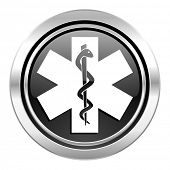 emergency icon, black chrome button, hospital sign