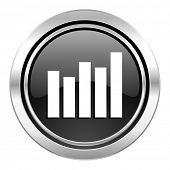 graph icon, black chrome button, bar graph sign