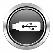 usb icon, black chrome button, flash memory sign