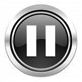 pause icon, black chrome button