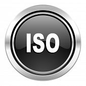 iso icon, black chrome button