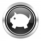 piggy bank icon, black chrome button