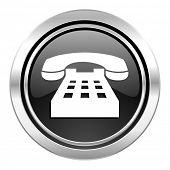 phone icon, black chrome button, telephone sign