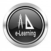 learning icon, black chrome button