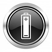 battery icon, black chrome button, power sign