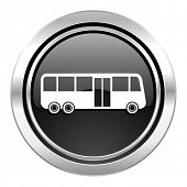 bus icon, black chrome button, public transport sign