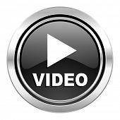 video icon, black chrome button