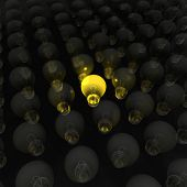 A bright yellow lightbulb - a 3d image