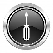 tools icon, black chrome button, service sign