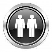 couple icon, black chrome button, people sign, team symbol