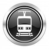 train icon, black chrome button, public transport sign