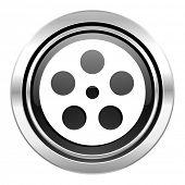 film icon, black chrome button