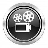 movie icon, black chrome button, cinema sign
