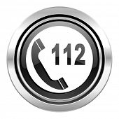 emergency call icon, black chrome button, 112 call sign