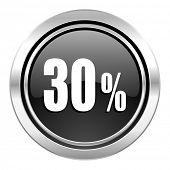 30 percent icon, black chrome button, sale sign