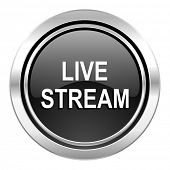 live stream icon, black chrome button