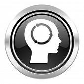 head icon, black chrome button, human head sign