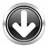 download arrow icon, black chrome button, arrow sign