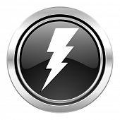 bolt icon, black chrome button, flash sign
