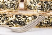 Chard Cheese Pie Closeup
