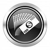 money icon, black chrome button, cash symbol