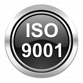 iso 9001 icon, black chrome button