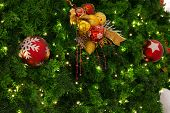 Gold Christmas Background Of Defocused Lights With Christmas Ornaments On The Christmas Tree