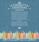 Template of Christmas cards with snowy old town