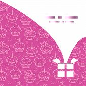 Vector pink cupcake party Christmas gift box silhouette pattern frame card template