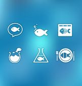 Vectoral icon set with Little fish