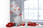 Design decoration for christmas, festive red silver and white ornaments, garlands.