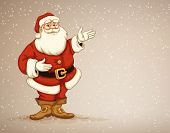 Santa Claus showing in empty place for advertising. Eps10 vector illustration