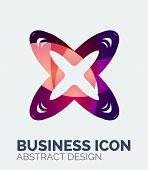 Abstract business logo, curve, flowing pieces design with shadows