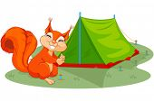 Illustration of funny squirrel sets tent
