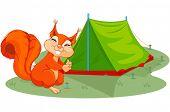 Illustration of funny squirrel sets tent