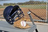 Baseball, Helmet, Bat, And Glove