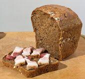 Tasty lard with fresh bread