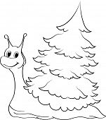 Illustration of a funny cartoon snail with fir tree on the back