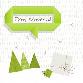 Vector merry christmas greeting card, winter landscape with fir trees, gift boxes. Snowfall.
