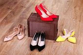 Women shoes on floor in room