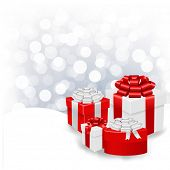 Silver Bokeh Xmas Wallpaper With Gift Box With Gradient Mesh, Vector Illustration