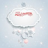 Christmas festive card with beautiful snowflakes. Place for text.
